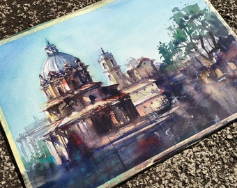 Rome watercolor painting art print