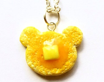 Bear pancake necklace food necklace kawaii necklace dessert jewelry breakfast waffle sweets cute animal necklace handmade gift for women