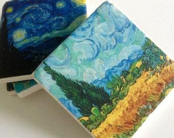 Van Gogh Famous Paintings Coasters - Natural Stone Tile - Fine Art - Home Decor - Housewarming - Hostess Gift - Set of 4