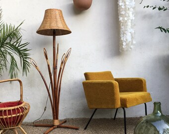 Vintage rattan - Midcentury rattan floor lamp floor lamp