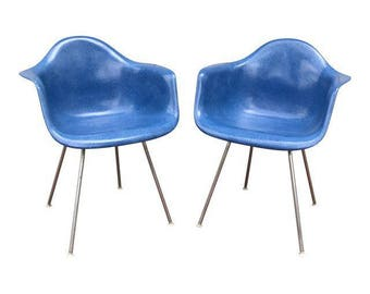 Eames Fiberglass Arm Shell Chairs - A Pair