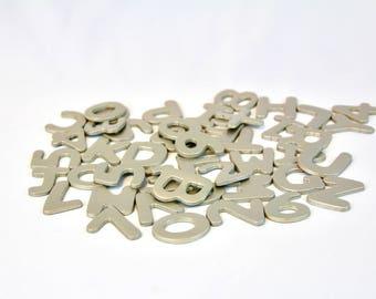 Magnetic Alphabet & Numbers Fridge Magnets Office Bulletin Board Kids Home School Brushed Nickel Cardboard 26 Letters 20 Numbers