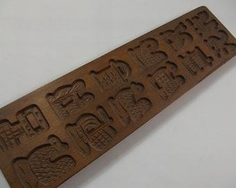 vintage wooden Dutch cookie mold, ginger bread mold,speculoos, ginger cookie, folk art