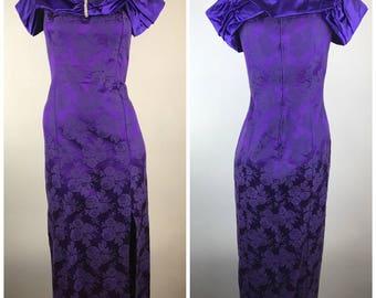 Vintage Purple Floral Print Off Shoulder Prom Dress Slinky 90s Rhinestone High Slit Slinky Form Fitting