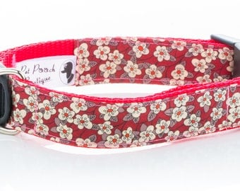 Fifi Red Floral Liberty Dog Collar OR Lead