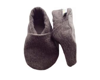 Grey Herringbone Baby Shoes