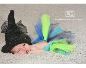 Newborn Witch Hat, Baby Witch Hat, Newborn Halloween Hat, Baby Crochet Hat, Newborn Crochet Witch