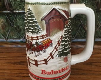 Vintage 1984 Limited Edition Budweiser Champion Clydesdales Holiday Beer Mug Stein Ceramarte Brazil