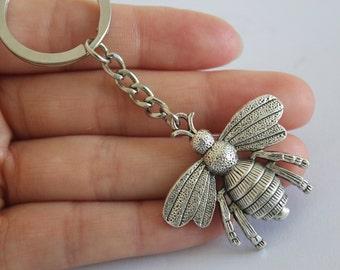 Large Bee Keychain, Honeybee Keychain, Bee Pendant Keychain, Bee Charm Keychain, Honeybee Jewelry
