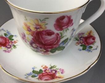 Cup Saucer Set By Reutter Porzellan Germany Rose Shabby