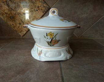 Vintage California Original Pottery 3 Piece Chaffing Set, 833, Excellent Condition 3 Quart Casserole with Lid and Pottery Warmer Very Pretty