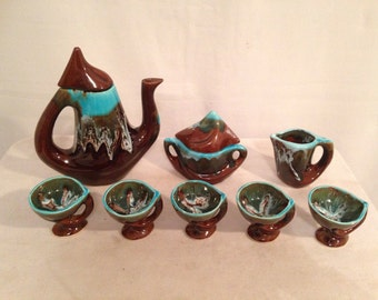 Coffee or tea French VALLAURIS ceramic 8 Pieces