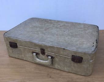 Old suitcase travel year 1960 Vintage Beige leather trunk