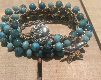 Beach inspired crochet jewelry, wrap bracelet, gemstone necklace- boho surfer wrap bracelet or necklace, beaded crocheted bohemian jewelry