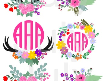Floral Antler svg, Antler flower SVG cut file, Flower svg, Antler Cut Files, Antlers Clip Art, Deer Antler SVG, Monogram Antler svg