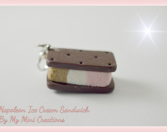 Napoleon Ice Cream Sandwich Charm , Miniature Food, Food Jewelry, Miniature Food Jewelry, Ice Cream Charm