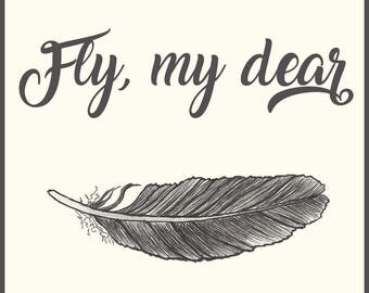 Inspirational Greeting Card, Fly My Dear, Encouragement Card, 3 Card Pack,