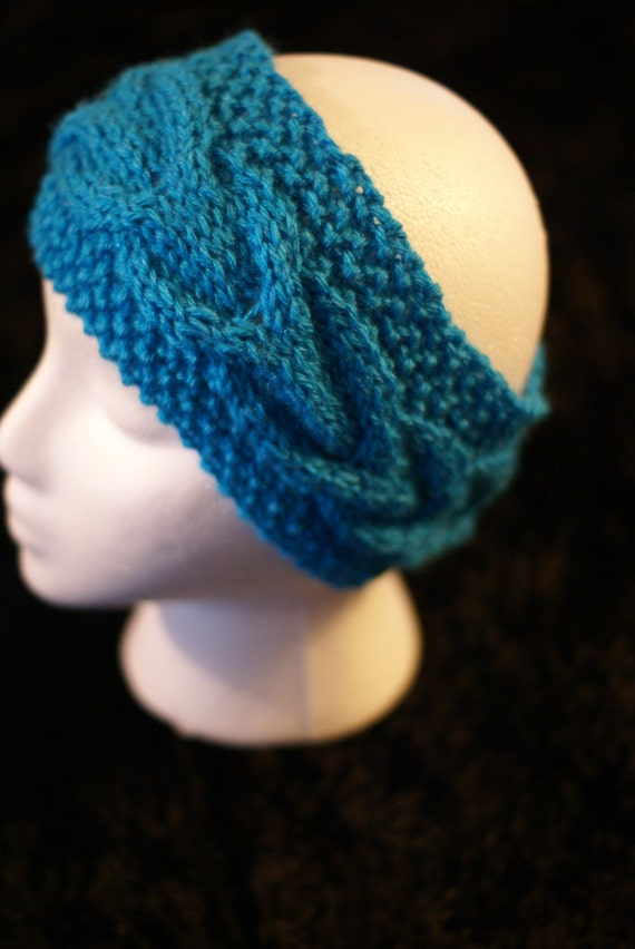 Hand Knitted Headbands Patterns : Hand Knitted Turquoise Headband