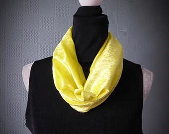 yellow velour snood scarf, acid yellow loop scarf, fluorescent yellow cowl scarf