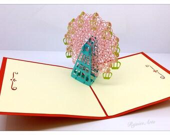 3D Pop Up Ferris Wheel Card (Pink)