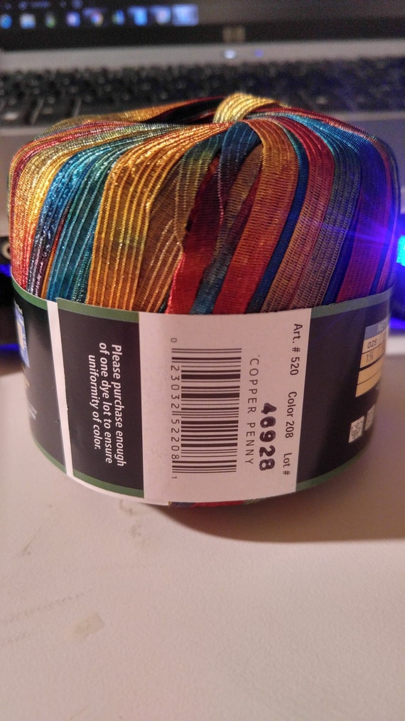 3 skeins balls lion brand incredible ribbon yarn copper penny nylon from thejerzeygirlcrafts - Incredible uses for copper pennies ...