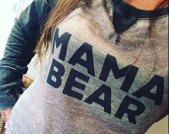 mama bear sweatshirt vintage style burnout wide neck. Momma Bear. Sweater.