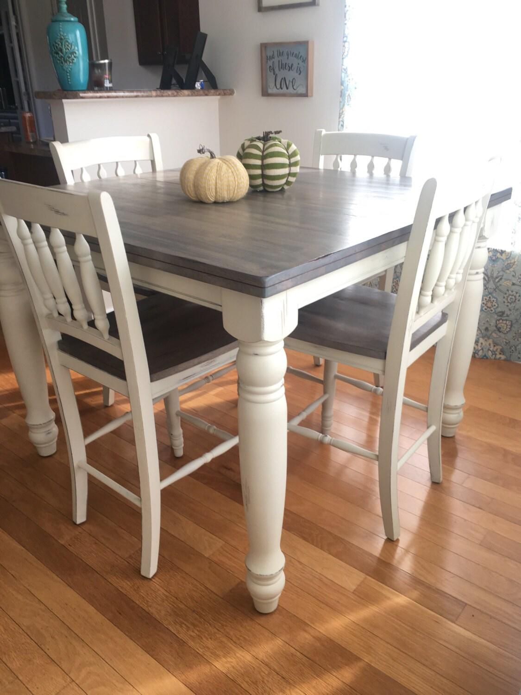 Custom counter heightadjustable farmhouse kitchen table 4 for Farmhouse counter height table