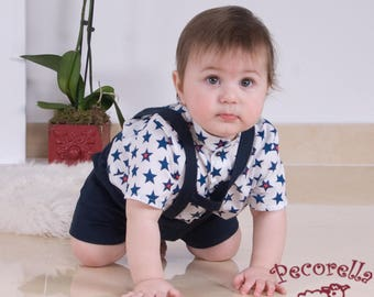 Baby short in navy cotton with straps