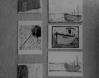 Greetings Card lino print