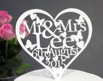 Wedding Cake Topper Decoration Personalised With ANY Name & Date in a Heart