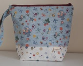 Stitching & Sewing Print Large Project Pouch with Blue Ditsy Print Lining