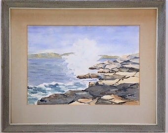 Vintage Signed Original Watercolor Painting Seascape by Listed Artist Arnold Banning
