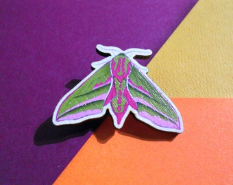 Elephant Hawk-Moth Brooch/Badge