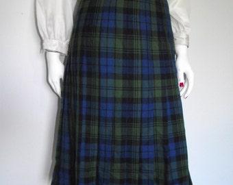 Vintage pleated skirt blue green Plaid Tartan Pleated Skirt Kilt style size small by Emreco International