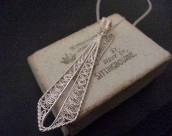 """Unique large vintage filigree pendant necklace - 925 - Filigree - Sterling silver - Pendant 2.25"""" - Necklace 18"""""""