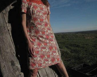 Léopoldine Dress/ Floral dress/ Short sleeve dress/ Pink cotton dress/Vintage dress/Retro dress