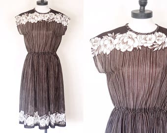 1970s Stripes and Florals Dress   Size Small - Medium   70s Brown and White Semi Sheer Dress   Vintage Midcentury Day Dress