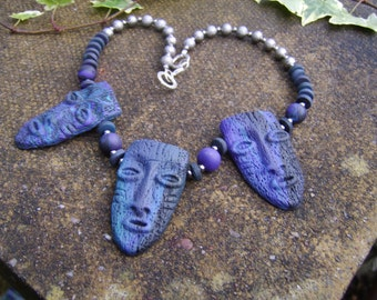 Tribal Mask Necklace. Boho Necklace . Tribal Necklace . Mask Necklace. Polymer Clay Necklace. Statement Necklace. Tribal Jewellery .