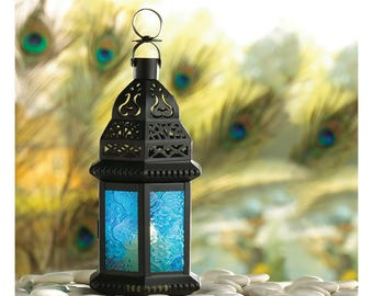 Cobalt Blue Glass Moroccan Style Candle Lantern