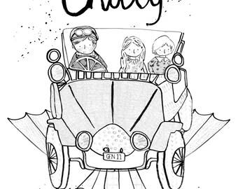 Chitty chitty bang bang a5 watercolour illustration, black & white print.