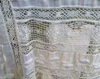 Edwardian Tea Dress Fabric Panel - Elaborate Lace and Embroidery