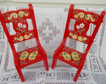 Bright Red Hand-Painted Doll Chairs