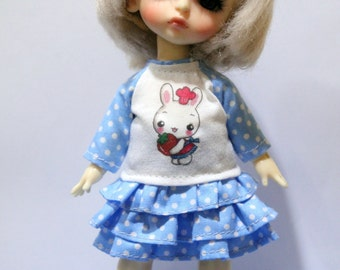 T-shirt and Layers Skirt  For Lati Yellow / Pukifee Outfit #L025