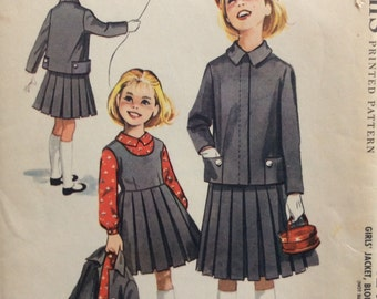 McCall's 4246 girls jacket, blouse and jumper size 4 vintage 1950's sewing pattern  Designed by Helen Lee