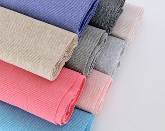 """2X2 Ribbing and Binding Knit for Kids' apparel and Cuffs, Neckbands, Hem. 100% cotton, 9 Melange colors available, 45""""--51"""" Width X7.8""""/20cm"""