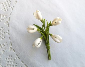 "Brooch ""Snowdrop""-Floral brooch- Clay flowers"