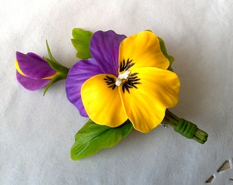 Pansy brooch. Porcelain flowers. Floral brooch.