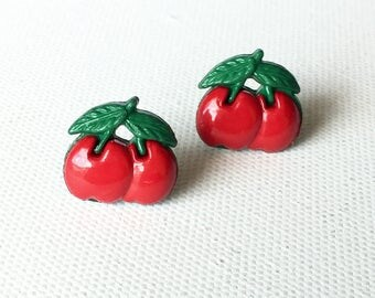 Pin Up Girl Cherry Stud Earrings, Red Cherries, Rockability, Retro, Jewelry