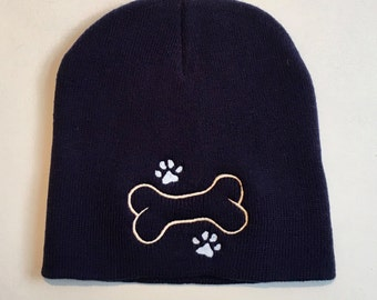 Navy Knit Cap || Dog Lover Beanie || Dog Paws and Bone || Personalized Gift by Three Spoiled Dogs Made in USA