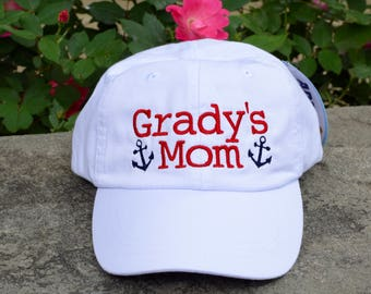 Dog Mom Baseball Cap with Anchors || Embroidered Dog Lover Hat || Custom Personalized Gift by Three Spoiled Dogs Made in USA